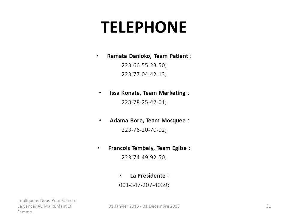 TELEPHONE Ramata Danioko, Team Patient : 223-66-55-23-50; 223-77-04-42-13; Issa Konate, Team Marketing : 223-78-25-42-61; Adama Bore, Team Mosquee : 2