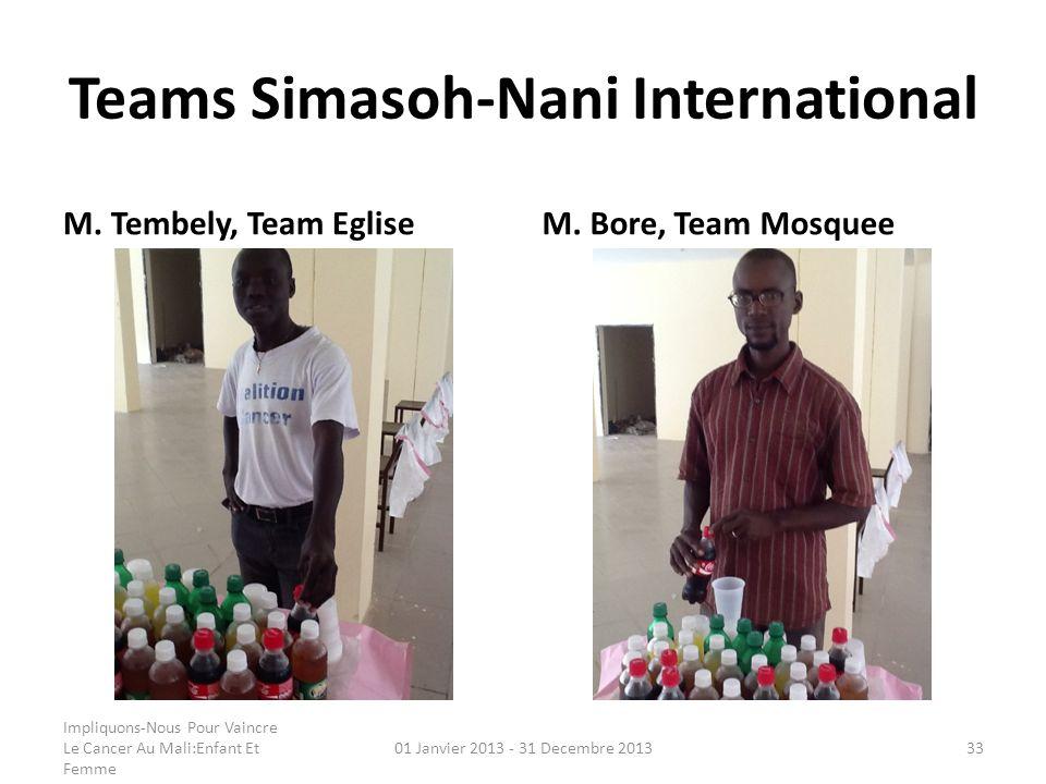 Teams Simasoh-Nani International M. Tembely, Team EgliseM. Bore, Team Mosquee Impliquons-Nous Pour Vaincre Le Cancer Au Mali:Enfant Et Femme 01 Janvie