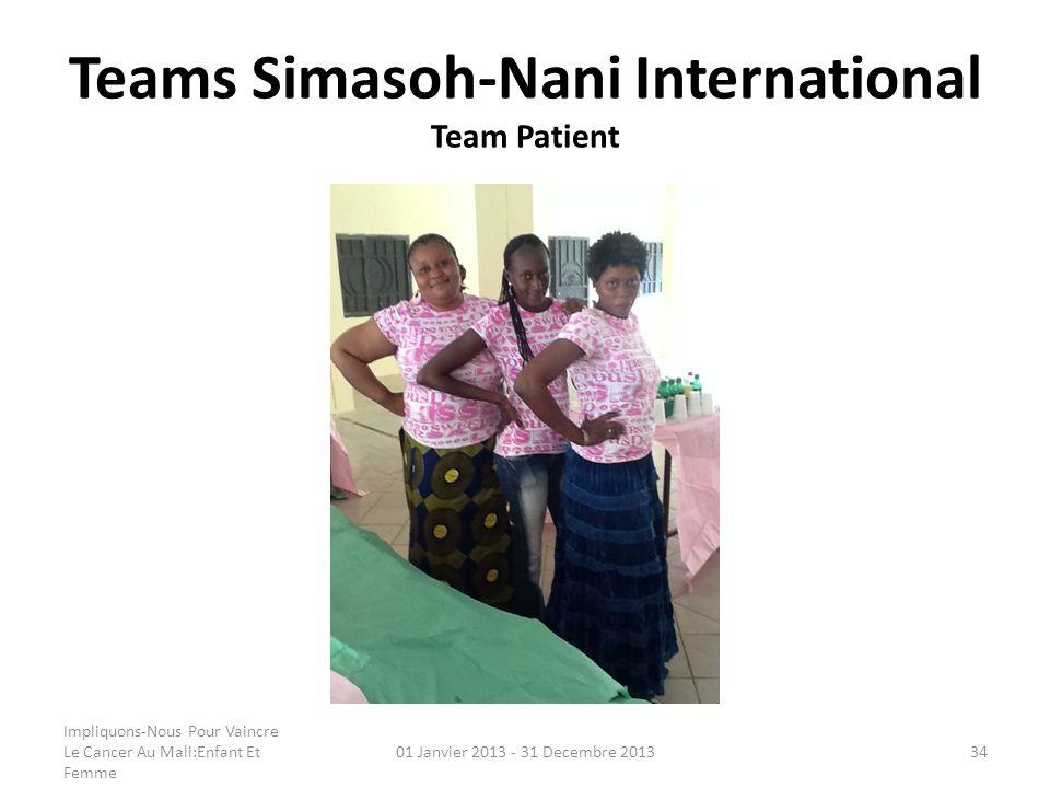 Teams Simasoh-Nani International Team Patient Impliquons-Nous Pour Vaincre Le Cancer Au Mali:Enfant Et Femme 01 Janvier 2013 - 31 Decembre 201334