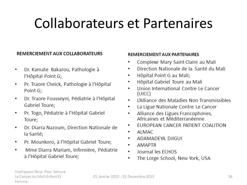 Collaborateurs et Partenaires REMERCIEMENT AUX COLLABORATEURS Dr. Kamate Bakarou, Pathologie à lHôpital Point G; Pr. Traore Cheick, Pathologie à lHôpi