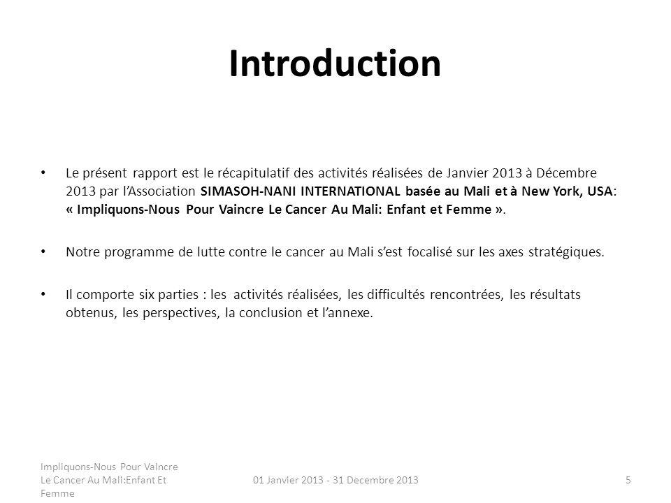 Introduction Le présent rapport est le récapitulatif des activités réalisées de Janvier 2013 à Décembre 2013 par lAssociation SIMASOH-NANI INTERNATION
