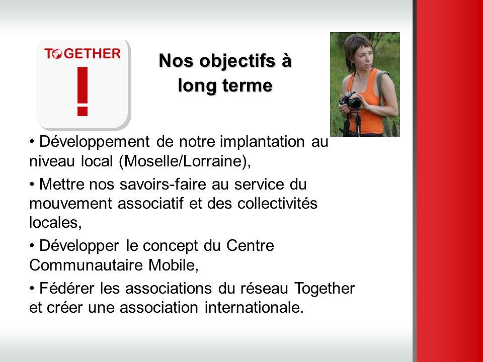 Nos objectifs à long terme Développement de notre implantation au niveau local (Moselle/Lorraine), Mettre nos savoirs-faire au service du mouvement as