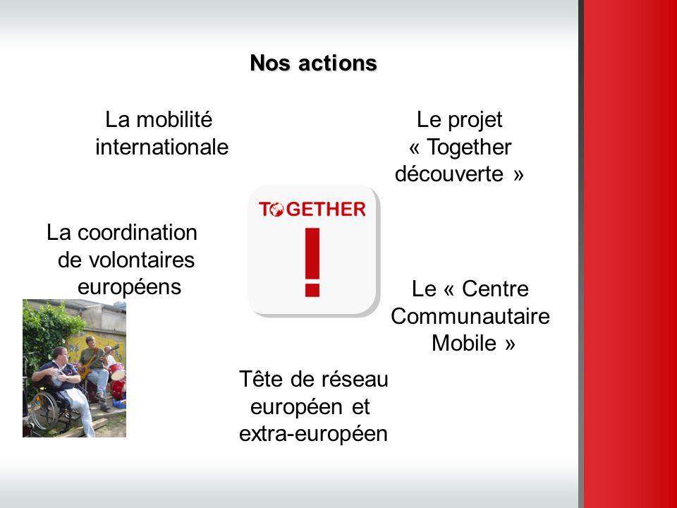 La mobilité internationale Le projet « Together découverte » La coordination de volontaires européens Le « Centre Communautaire Mobile » Nos actions T