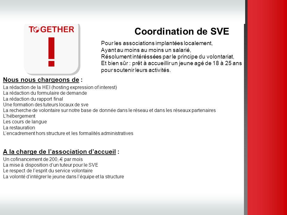 Coordination de SVE Pour les associations implantées localement, Ayant au moins au moins un salarié, Résolument intéréssées par le principe du volonta