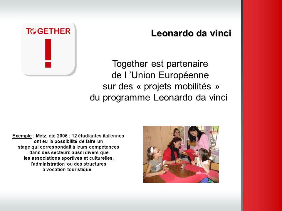 Leonardo da vinci Together est partenaire de l Union Européenne sur des « projets mobilités » du programme Leonardo da vinci Exemple : Metz, été 2005
