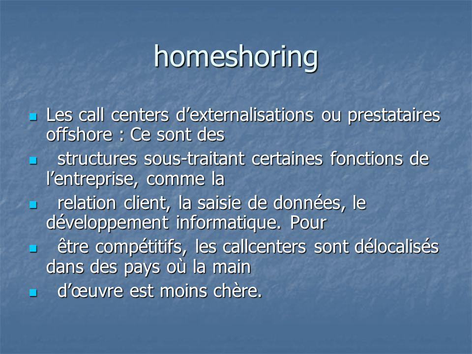 homeshoring Les call centers dexternalisations ou prestataires offshore : Ce sont des Les call centers dexternalisations ou prestataires offshore : Ce
