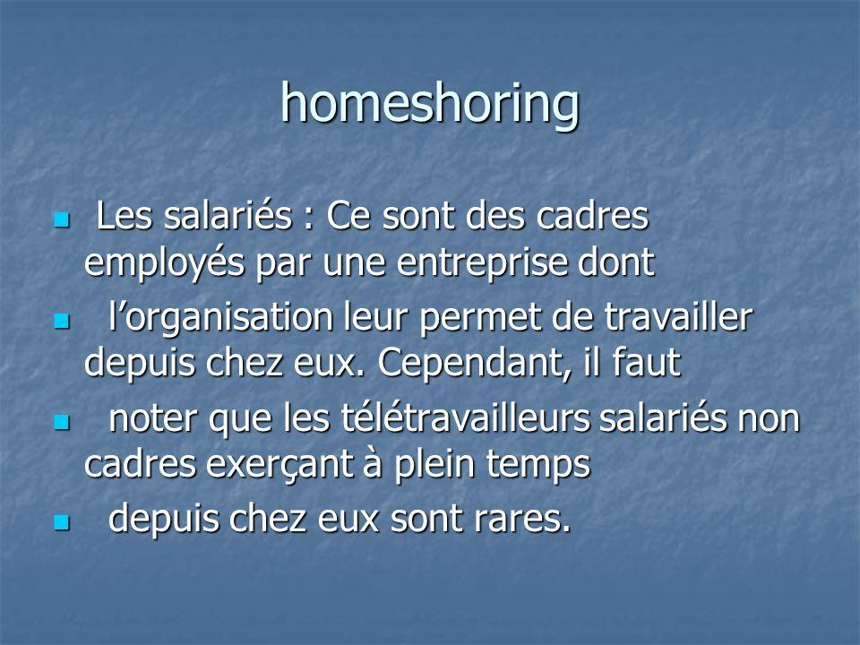 homeshoring Les salariés : Ce sont des cadres employés par une entreprise dont Les salariés : Ce sont des cadres employés par une entreprise dont lorganisation leur permet de travailler depuis chez eux.