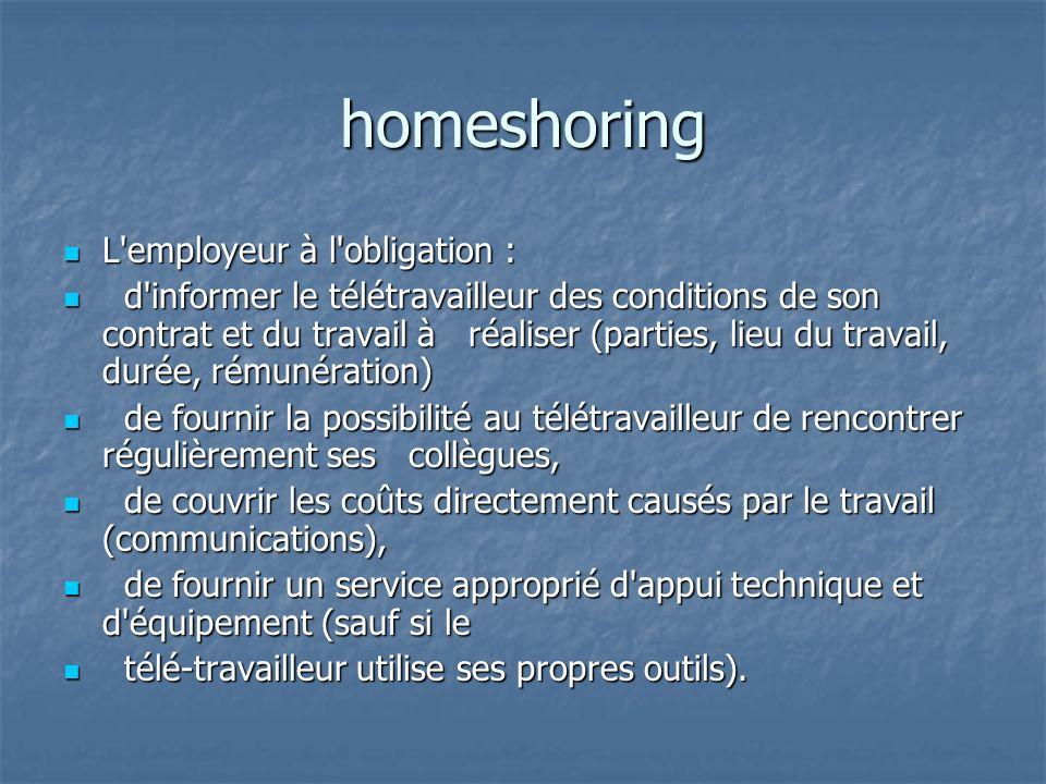 homeshoring L'employeur à l'obligation : L'employeur à l'obligation : d'informer le télétravailleur des conditions de son contrat et du travail à réal