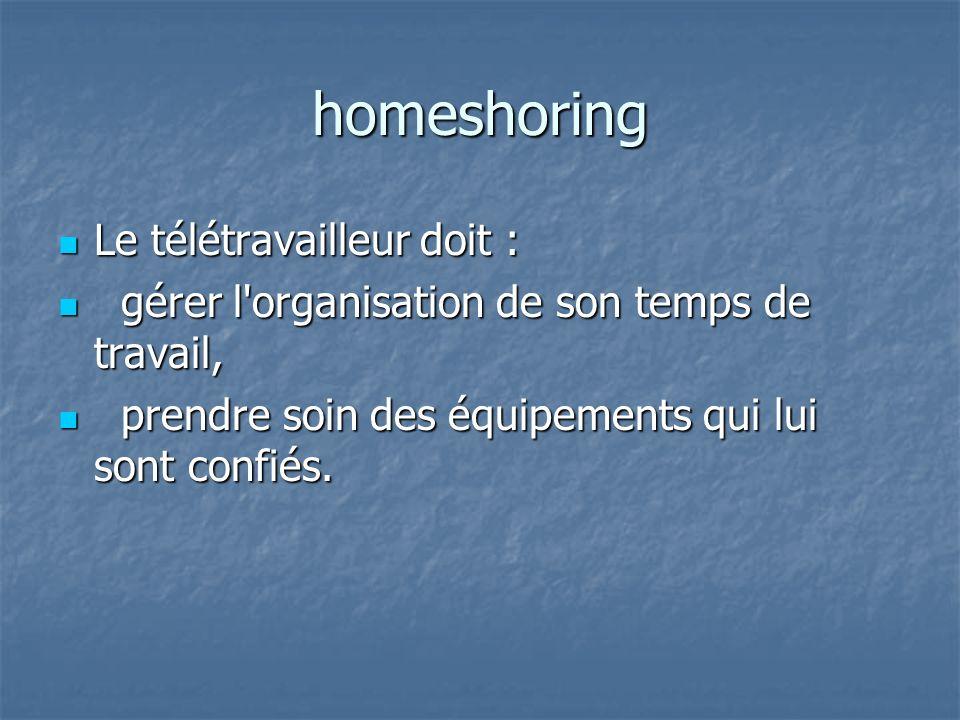 homeshoring Le télétravailleur doit : Le télétravailleur doit : gérer l organisation de son temps de travail, gérer l organisation de son temps de travail, prendre soin des équipements qui lui sont confiés.