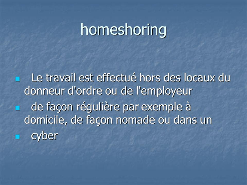 homeshoring Le travail est effectué hors des locaux du donneur d ordre ou de l employeur Le travail est effectué hors des locaux du donneur d ordre ou de l employeur de façon régulière par exemple à domicile, de façon nomade ou dans un de façon régulière par exemple à domicile, de façon nomade ou dans un cyber cyber