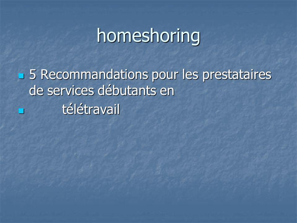 homeshoring 5 Recommandations pour les prestataires de services débutants en 5 Recommandations pour les prestataires de services débutants en télétrav