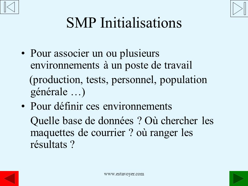 www.estavoyer.com SMP Initialisations Pour associer un ou plusieurs environnements à un poste de travail (production, tests, personnel, population gén