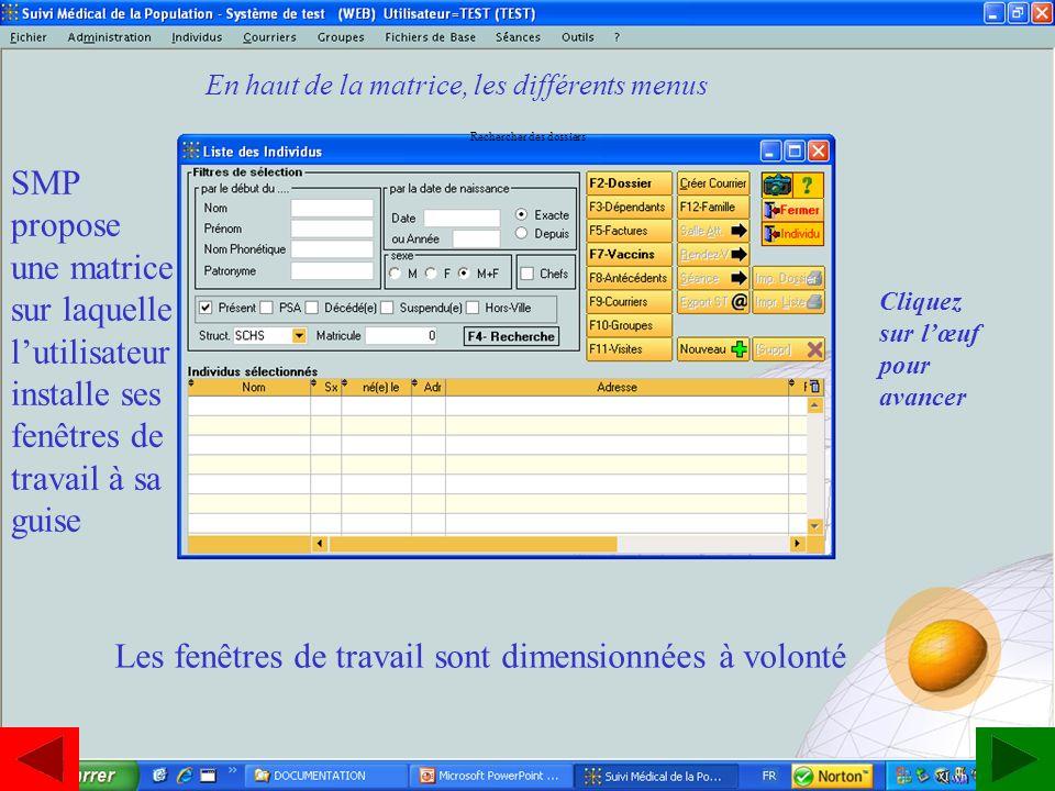 www.estavoyer.com SMP propose une matrice sur laquelle lutilisateur installe ses fenêtres de travail à sa guise Les fenêtres de travail sont dimension