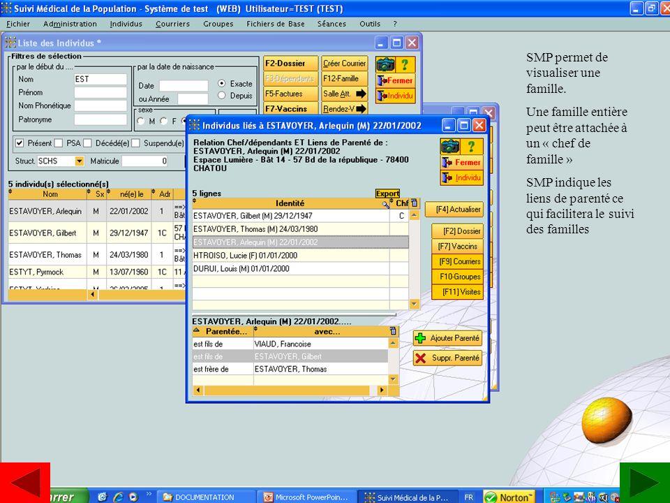 www.estavoyer.com Visualiser une famille SMP permet de visualiser une famille. Une famille entière peut être attachée à un « chef de famille » SMP ind