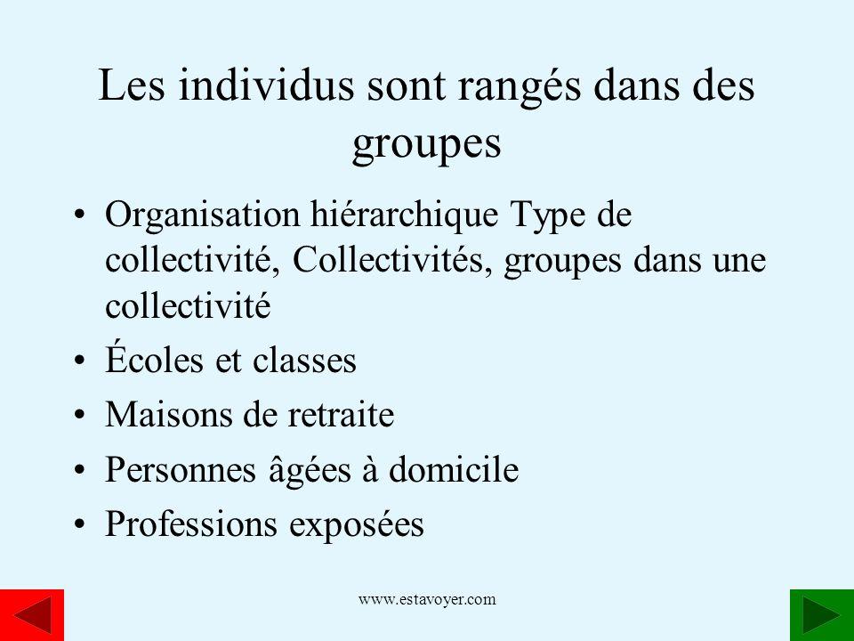 www.estavoyer.com Les individus sont rangés dans des groupes Organisation hiérarchique Type de collectivité, Collectivités, groupes dans une collectiv