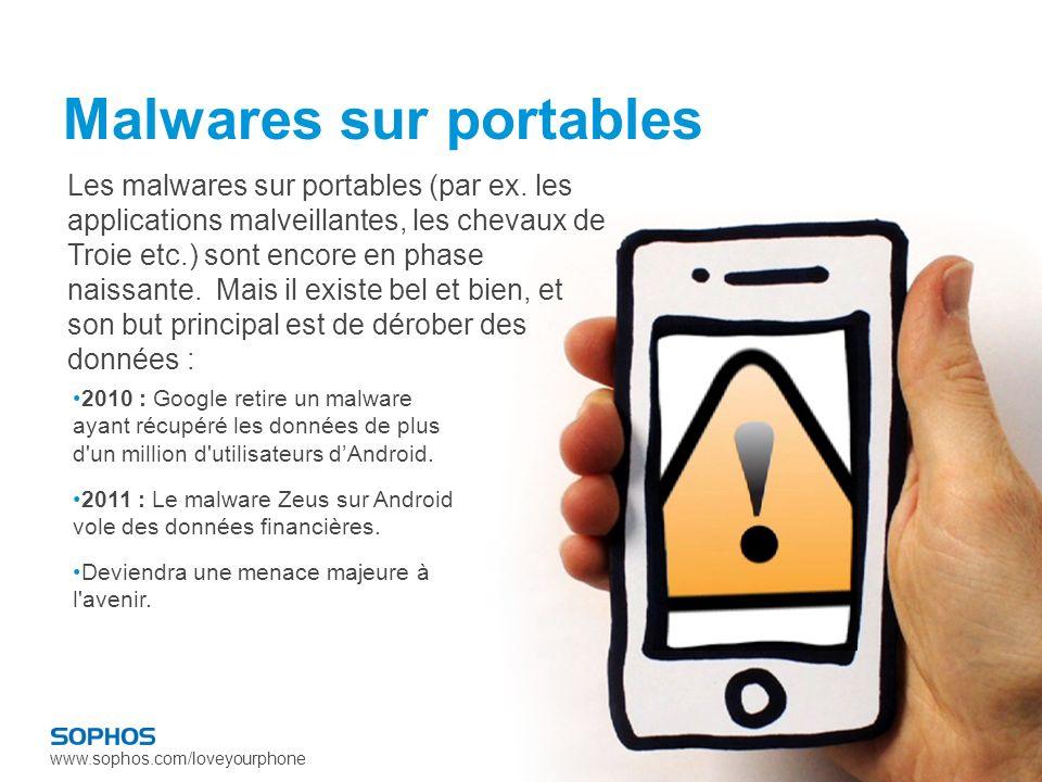 www.sophos.com/loveyourphone Malwares sur portables 2010 : Google retire un malware ayant récupéré les données de plus d un million d utilisateurs dAndroid.
