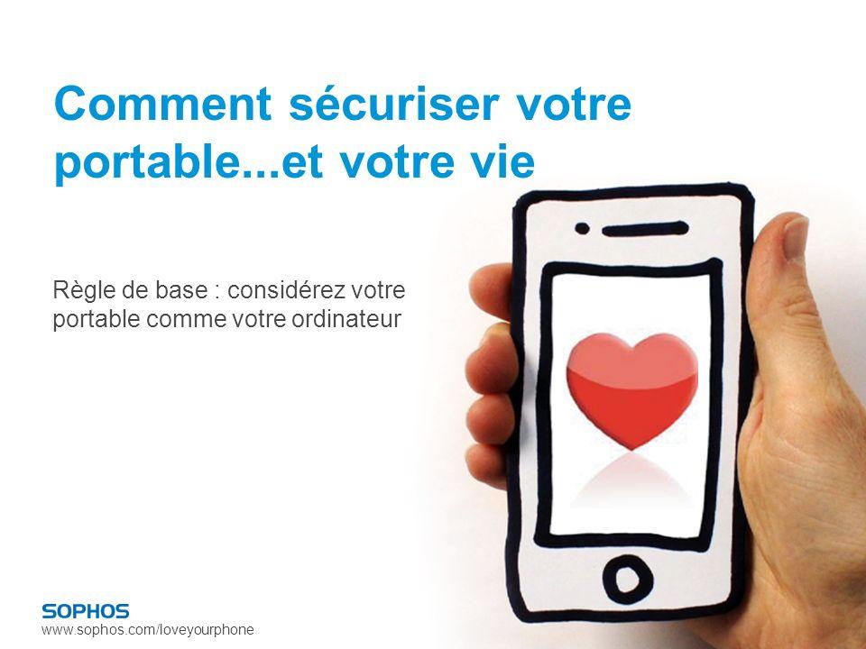 www.sophos.com/loveyourphone Comment sécuriser votre portable...et votre vie Règle de base : considérez votre portable comme votre ordinateur
