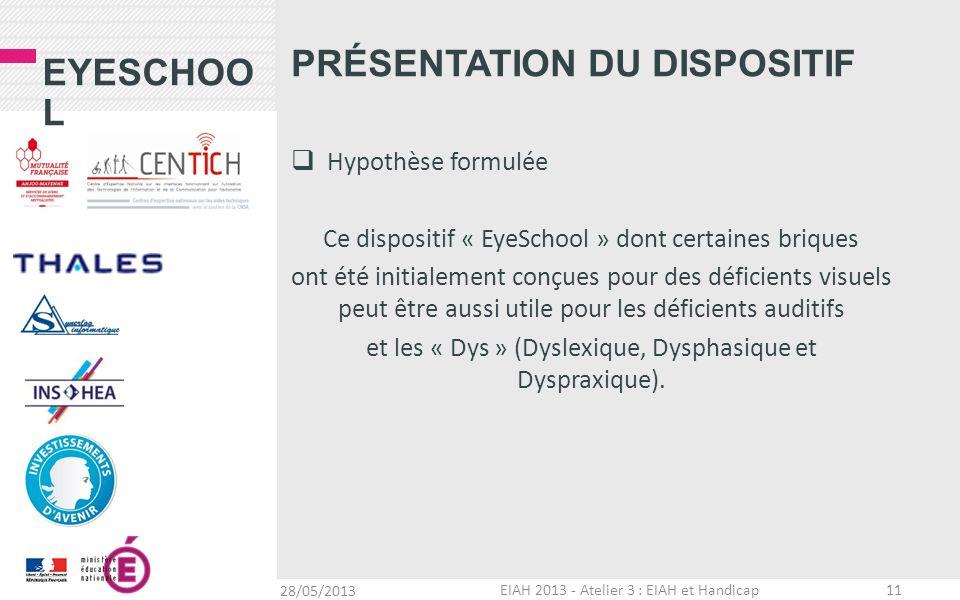 EYESCHOO L PRÉSENTATION DU DISPOSITIF Hypothèse formulée Ce dispositif « EyeSchool » dont certaines briques ont été initialement conçues pour des défi