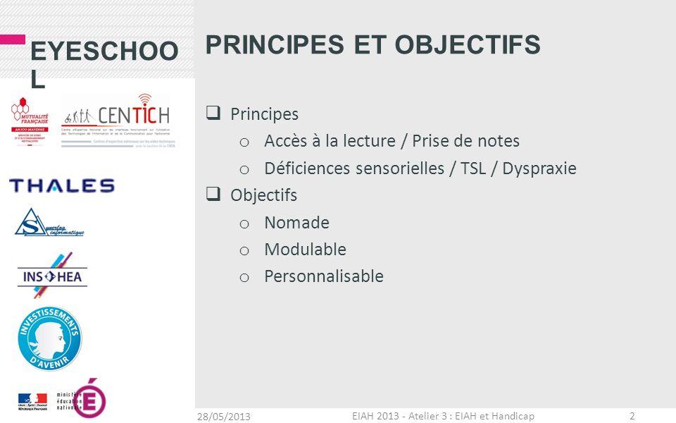 EYESCHOO L PRINCIPES ET OBJECTIFS Principes o Accès à la lecture / Prise de notes o Déficiences sensorielles / TSL / Dyspraxie Objectifs o Nomade o Mo