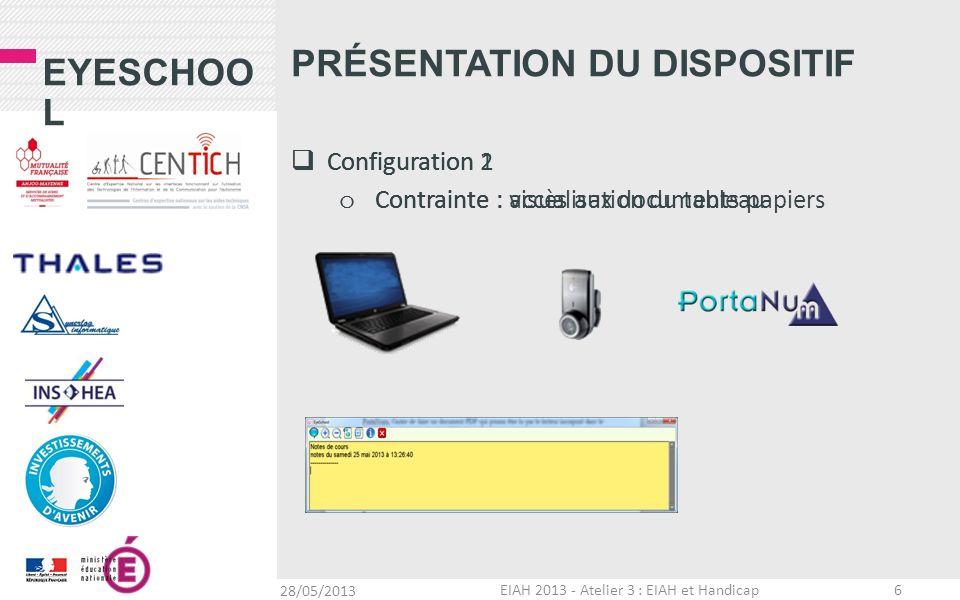 EYESCHOO L Configuration 2 o Contrainte : accès aux documents papiers PRÉSENTATION DU DISPOSITIF 28/05/2013 EIAH 2013 - Atelier 3 : EIAH et Handicap 7