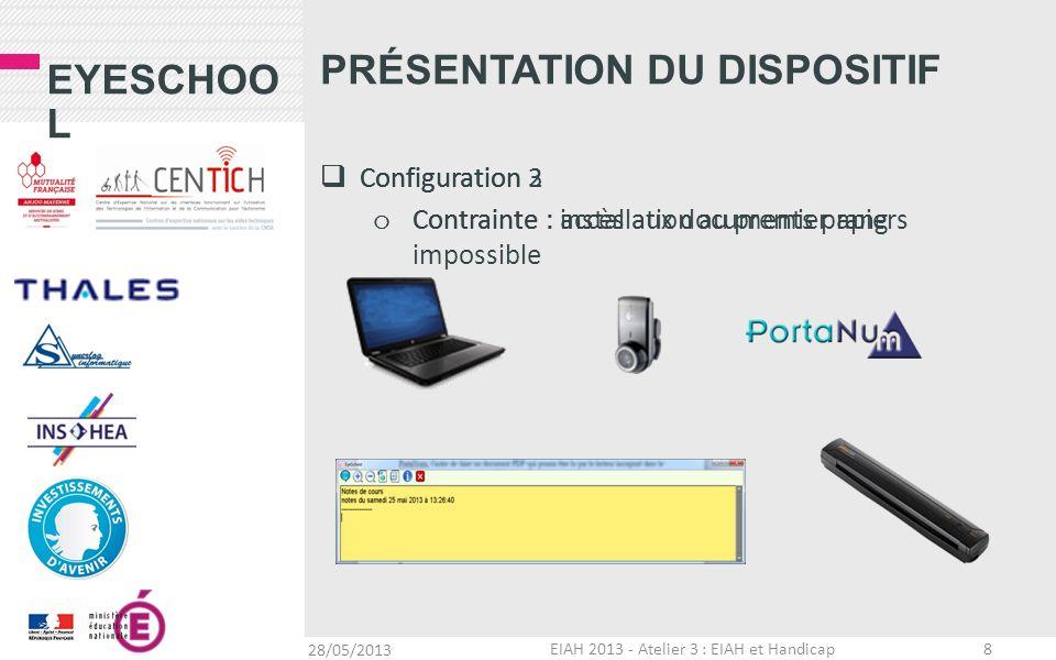 EYESCHOO L Configuration 2 o Contrainte : accès aux documents papiers PRÉSENTATION DU DISPOSITIF Configuration 3 o Contrainte : installation au premie