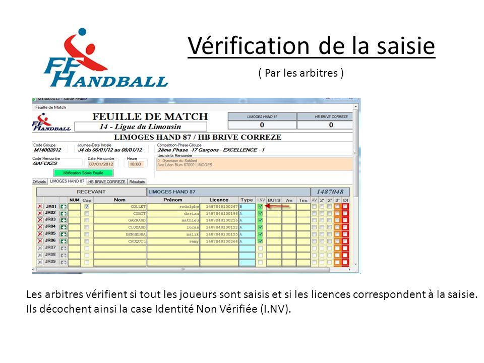 Vérification de la saisie ( Par les arbitres ) Les arbitres vérifient si tout les joueurs sont saisis et si les licences correspondent à la saisie. Il
