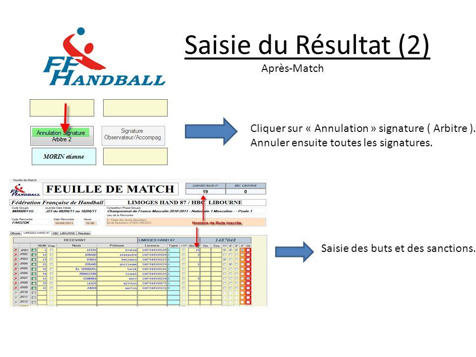 Saisie du Résultat (2) Après-Match Cliquer sur « Annulation » signature ( Arbitre ). Annuler ensuite toutes les signatures. Saisie des buts et des san