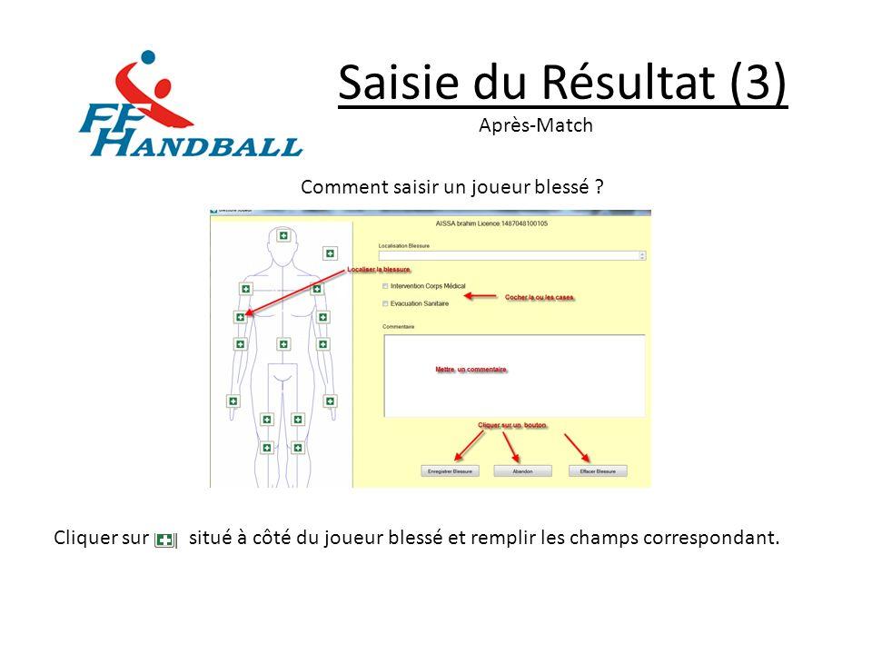 Saisie du Résultat (3) Après-Match Comment saisir un joueur blessé ? Cliquer sur situé à côté du joueur blessé et remplir les champs correspondant.