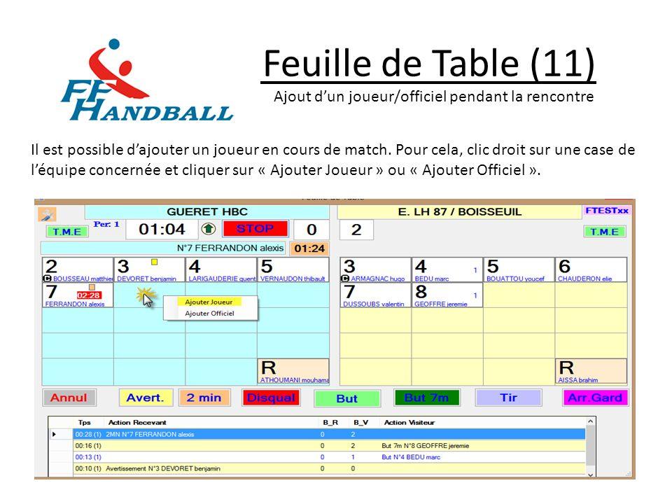 Feuille de Table (11) Ajout dun joueur/officiel pendant la rencontre Il est possible dajouter un joueur en cours de match. Pour cela, clic droit sur u