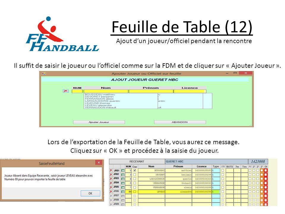 Feuille de Table (12) Il suffit de saisir le joueur ou lofficiel comme sur la FDM et de cliquer sur « Ajouter Joueur ». Lors de lexportation de la Feu