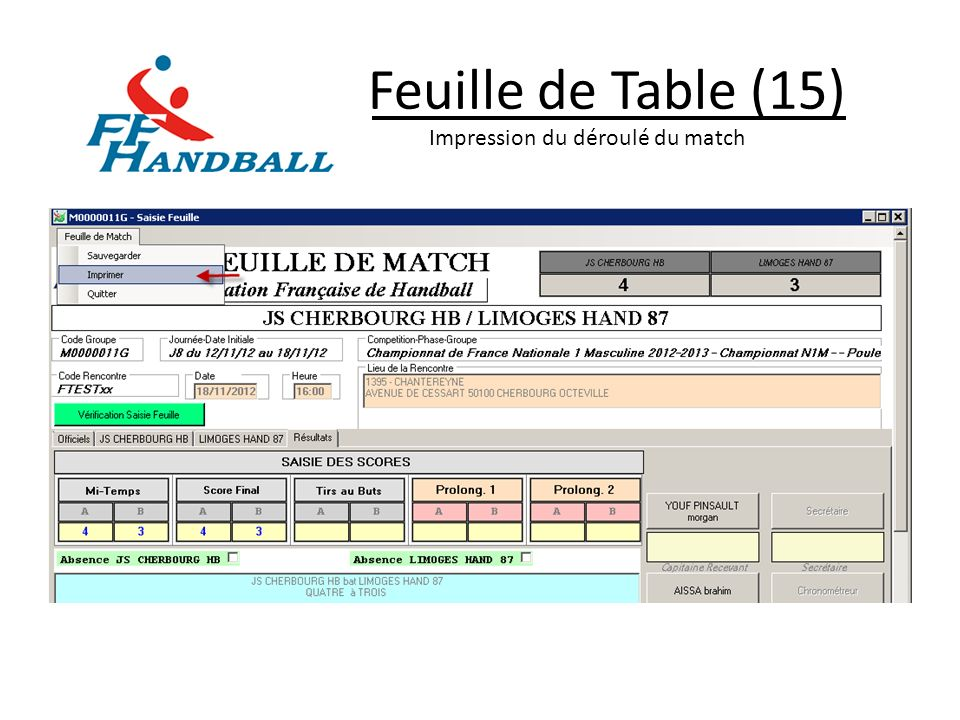 Feuille de Table (15) Impression du déroulé du match
