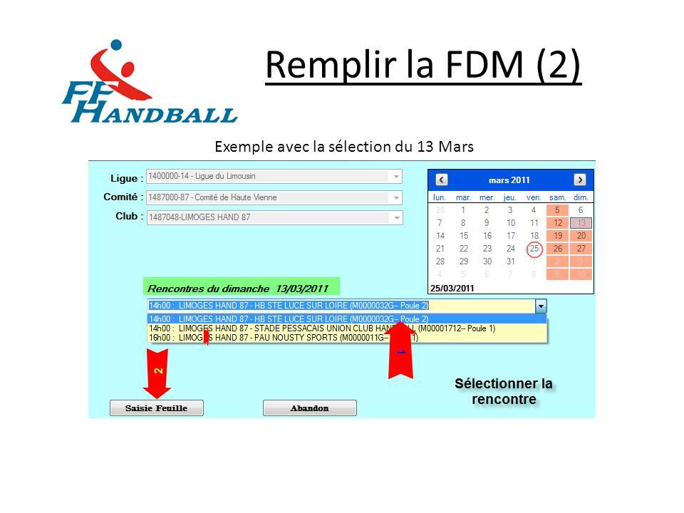 Remplir la FDM (3) OBLIGATOIRE ( Onglet « Officiels » )