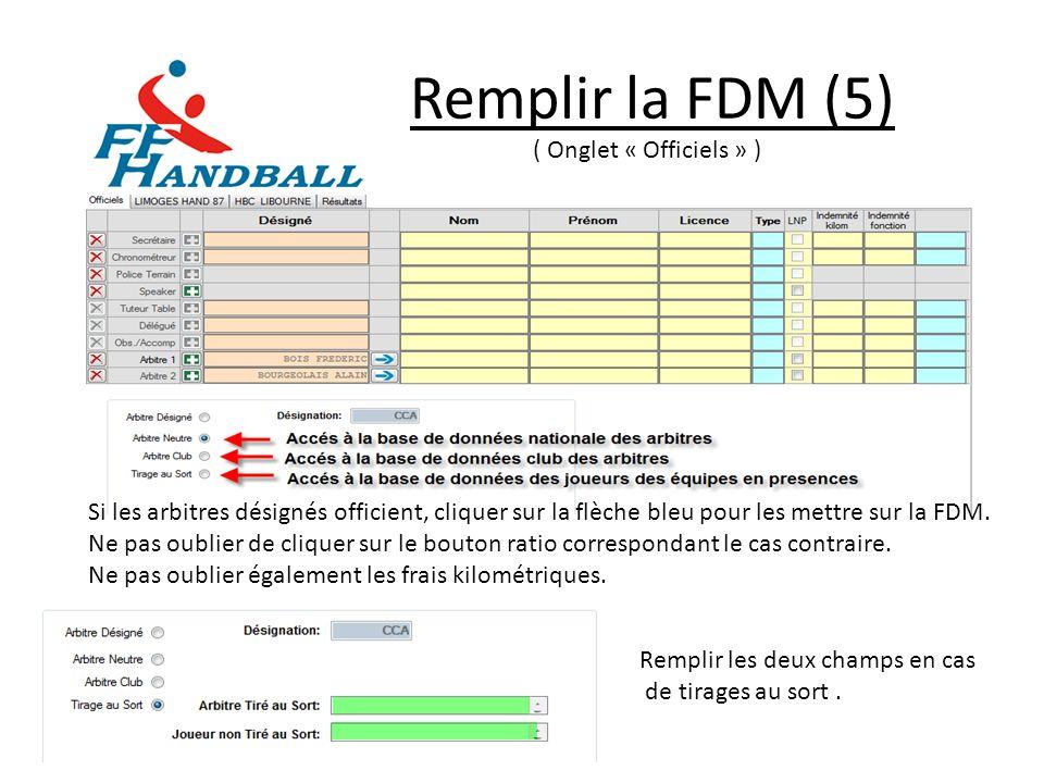 Remplir la FDM (6) ( Onglet « Recevant/Extérieur » ) Procéder à la saisie comme dans longlet « Officiel » Il est possible de récupérer les données du dernier match sauvegardé en effectuant un clic droit sur longlet désiré.