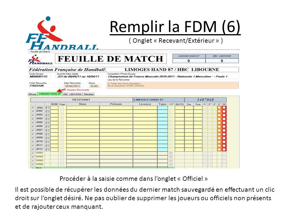 Remplir la FDM (6) ( Onglet « Recevant/Extérieur » ) Procéder à la saisie comme dans longlet « Officiel » Il est possible de récupérer les données du