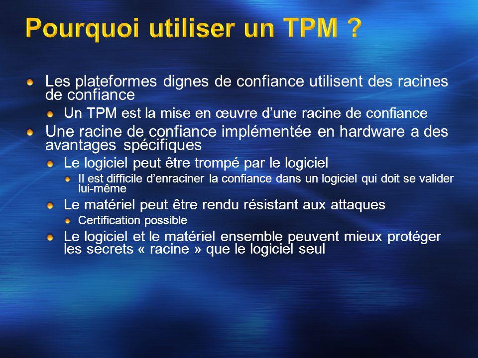 Les plateformes dignes de confiance utilisent des racines de confiance Un TPM est la mise en œuvre dune racine de confiance Une racine de confiance im