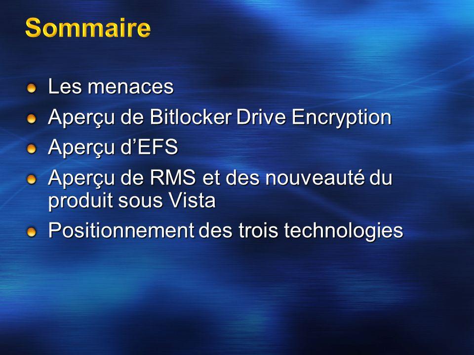 Les menaces Aperçu de Bitlocker Drive Encryption Aperçu dEFS Aperçu de RMS et des nouveauté du produit sous Vista Positionnement des trois technologie
