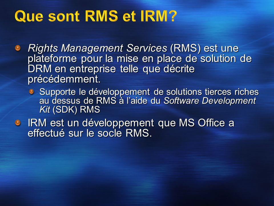 Rights Management Services (RMS) est une plateforme pour la mise en place de solution de DRM en entreprise telle que décrite précédemment. Supporte le