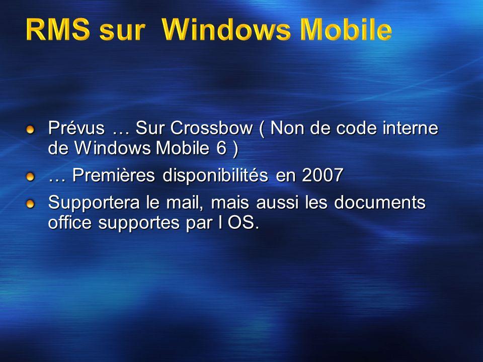 Prévus … Sur Crossbow ( Non de code interne de Windows Mobile 6 ) … Premières disponibilités en 2007 Supportera le mail, mais aussi les documents offi