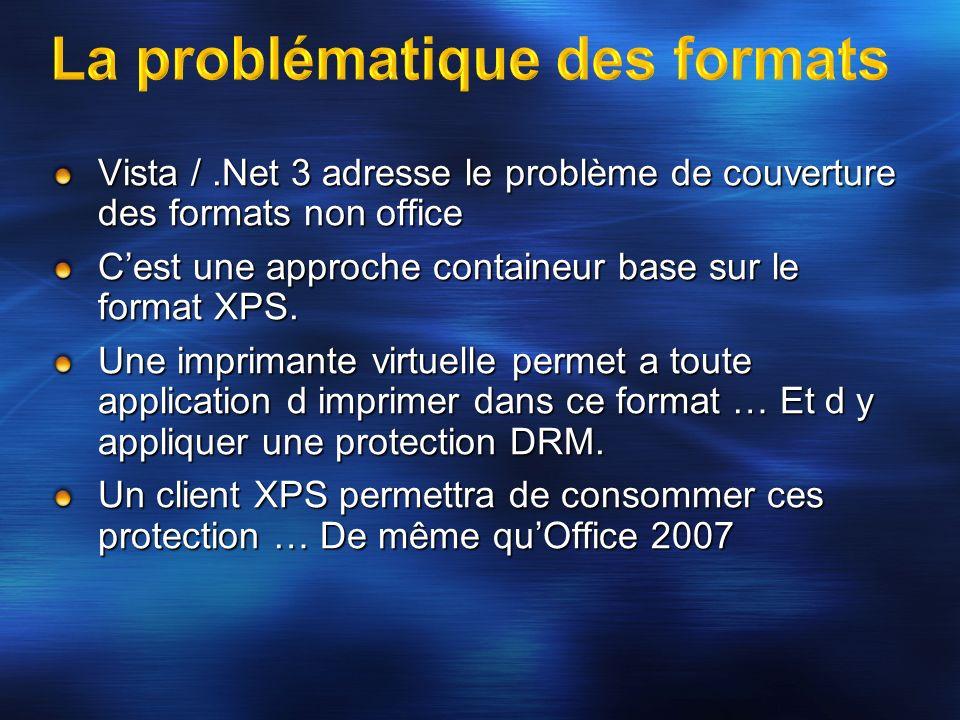 Vista /.Net 3 adresse le problème de couverture des formats non office Cest une approche containeur base sur le format XPS. Une imprimante virtuelle p