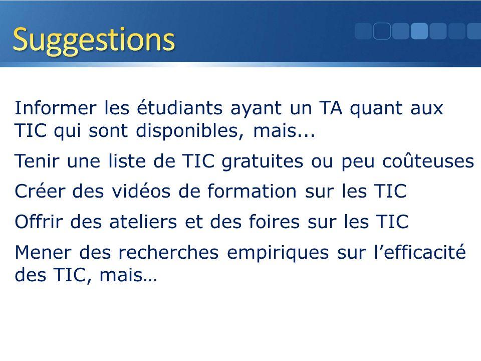 Informer les étudiants ayant un TA quant aux TIC qui sont disponibles, mais...