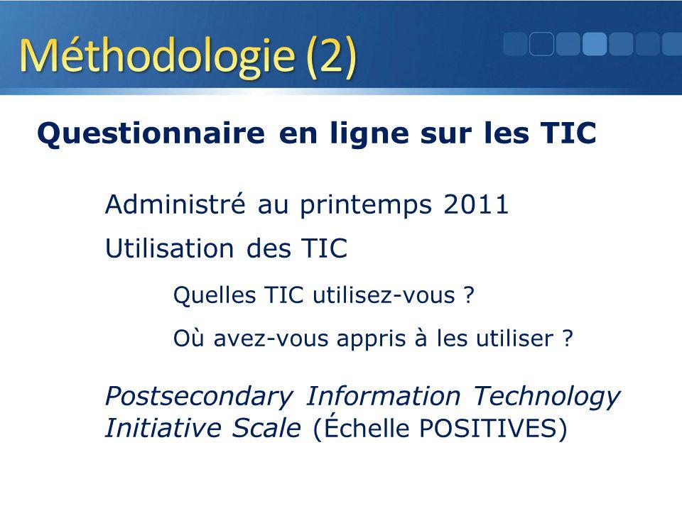 Questionnaire en ligne sur les TIC Administré au printemps 2011 Utilisation des TIC Quelles TIC utilisez-vous .
