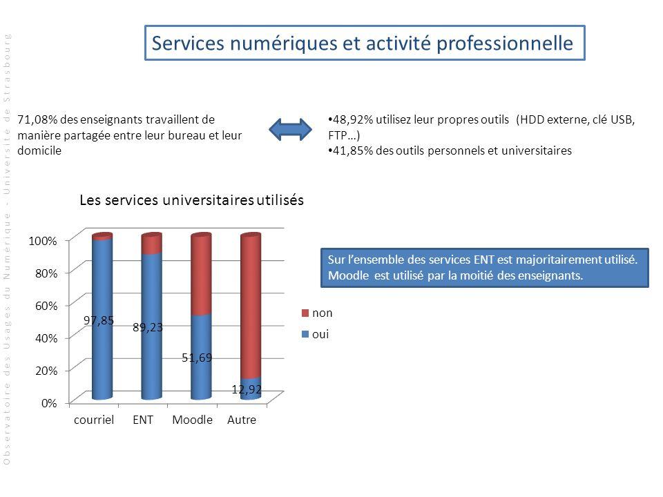 71,08% des enseignants travaillent de manière partagée entre leur bureau et leur domicile 48,92% utilisez leur propres outils (HDD externe, clé USB, F