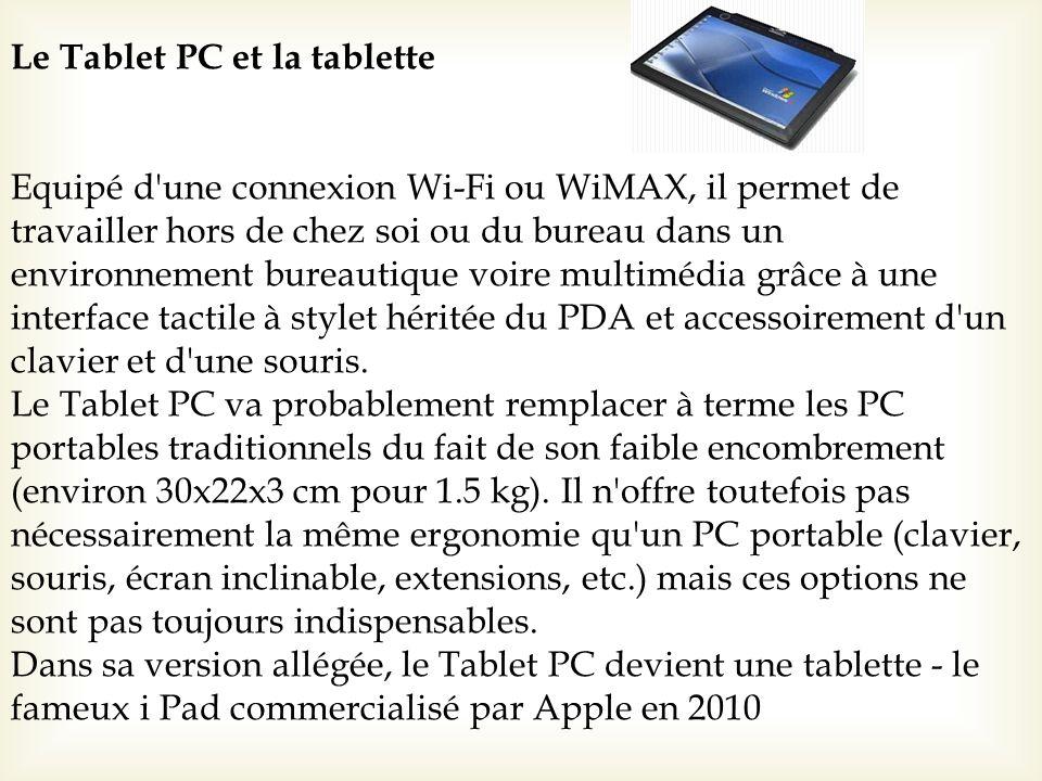 Le Tablet PC et la tablette Equipé d'une connexion Wi-Fi ou WiMAX, il permet de travailler hors de chez soi ou du bureau dans un environnement bureaut