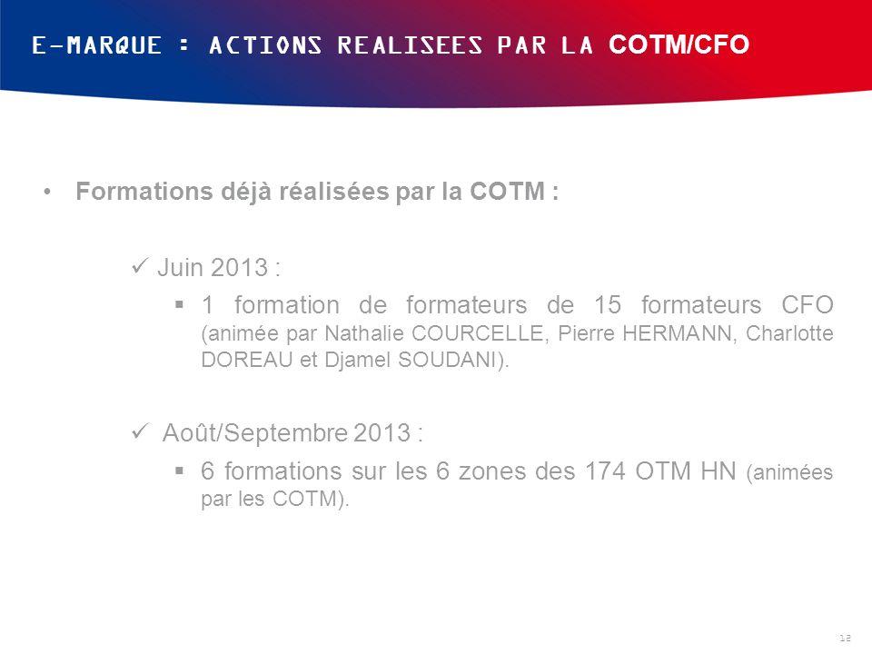 E-MARQUE : ACTIONS REALISEES PAR LA COTM/CFO 12 Formations déjà réalisées par la COTM : Juin 2013 : 1 formation de formateurs de 15 formateurs CFO (animée par Nathalie COURCELLE, Pierre HERMANN, Charlotte DOREAU et Djamel SOUDANI).