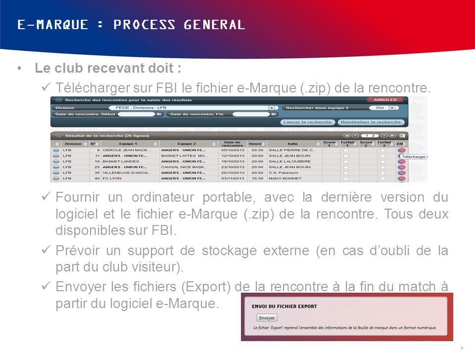 E-MARQUE : PROCESS GENERAL Le club recevant doit : Télécharger sur FBI le fichier e-Marque (.zip) de la rencontre. Fournir un ordinateur portable, ave