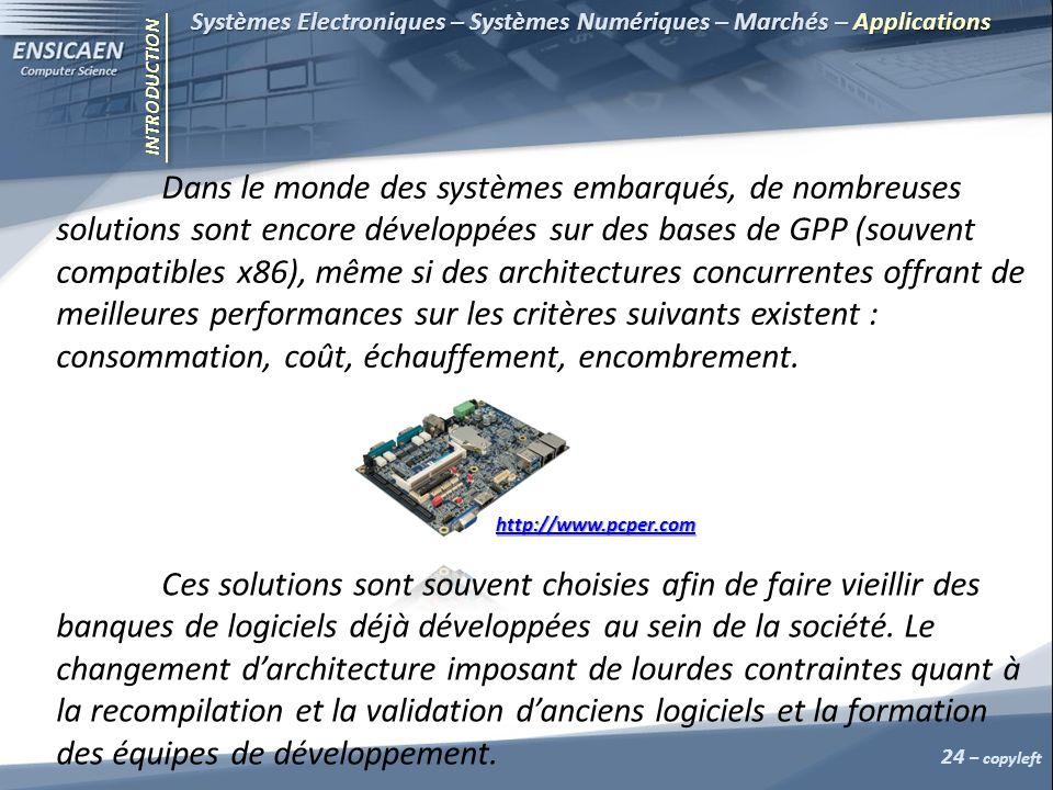 INTRODUCTION Systèmes Electroniques – Systèmes Numériques – Marchés – Applications 24 – copyleft Dans le monde des systèmes embarqués, de nombreuses s