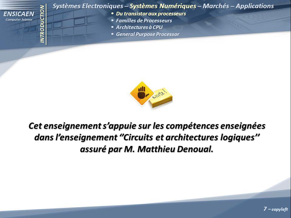 INTRODUCTION Systèmes Electroniques – Systèmes Numériques – Marchés – Applications Du transistor aux processeurs Familles de Processeurs Architectures