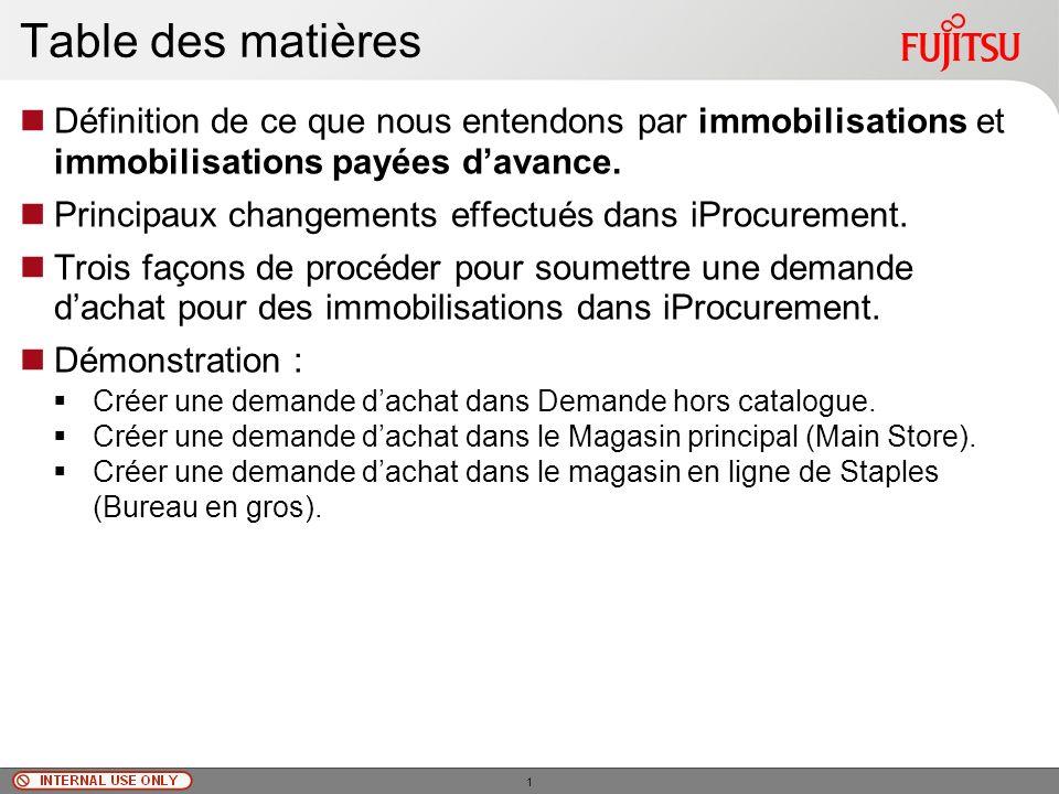 © Fujitsu Limited, 2010 Table des matières Définition de ce que nous entendons par immobilisations et immobilisations payées davance.