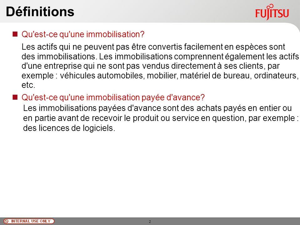 © Fujitsu Limited, 2010 Définitions Qu est-ce qu une immobilisation.