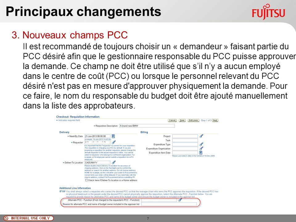 © Fujitsu Limited, 2010 Principaux changements 3.